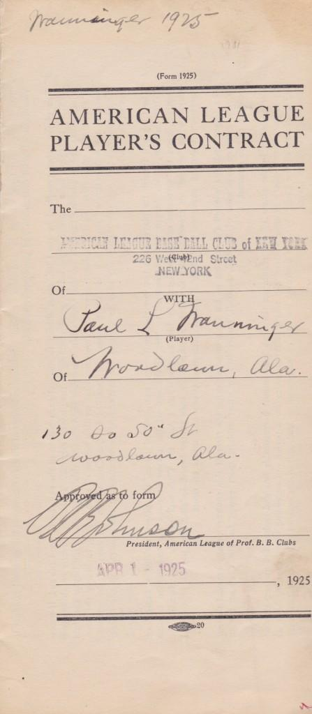 Ban Johnson signs Pee Wee Wanninger's 1925 contract - the year he ended one streak and started another