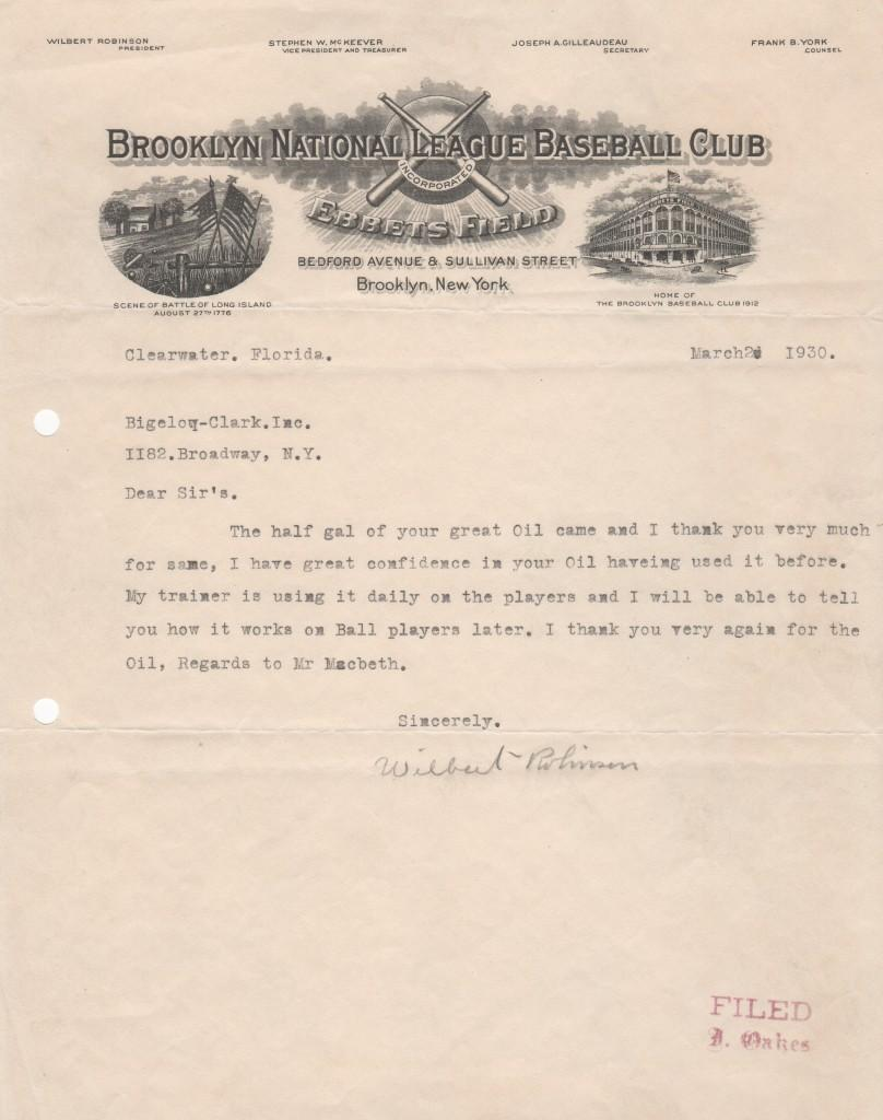 Wilbert Robinson signed letter from March 2, 1930