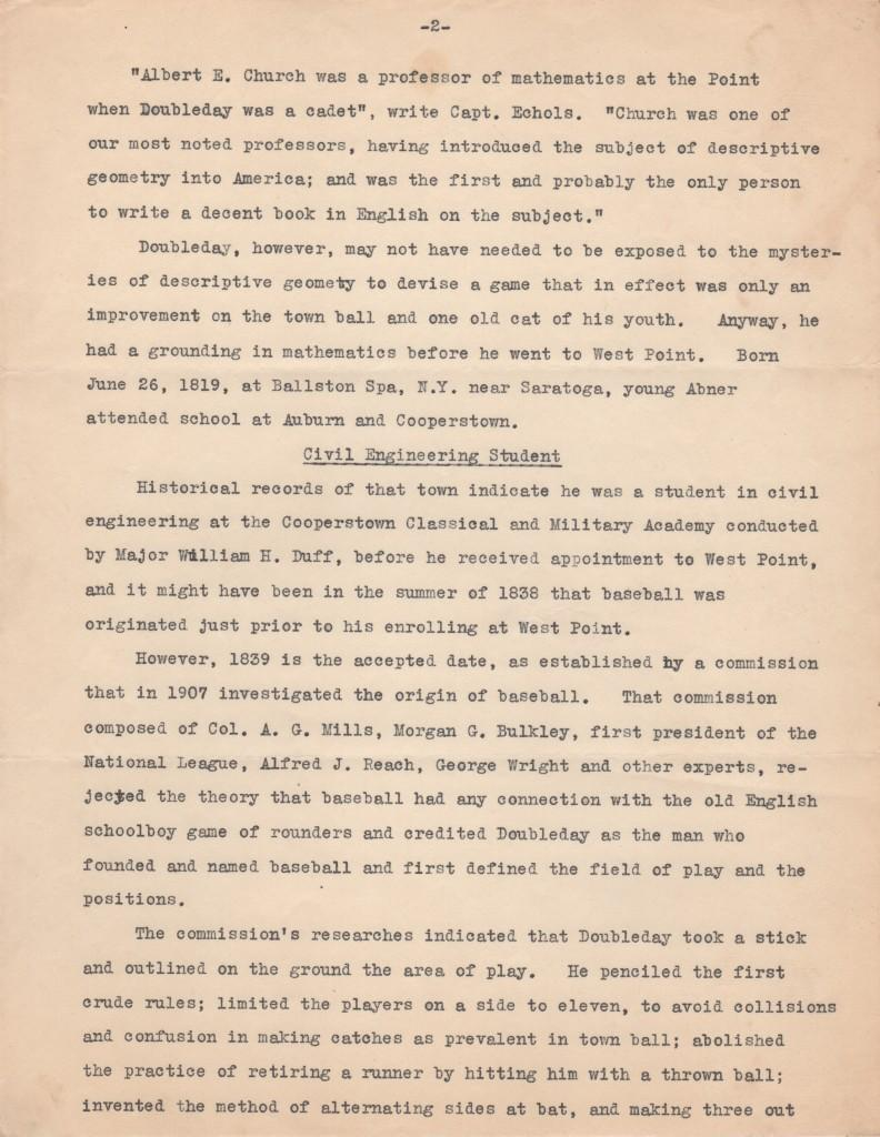 Second page of four-page testimony trumpeting Doubleday