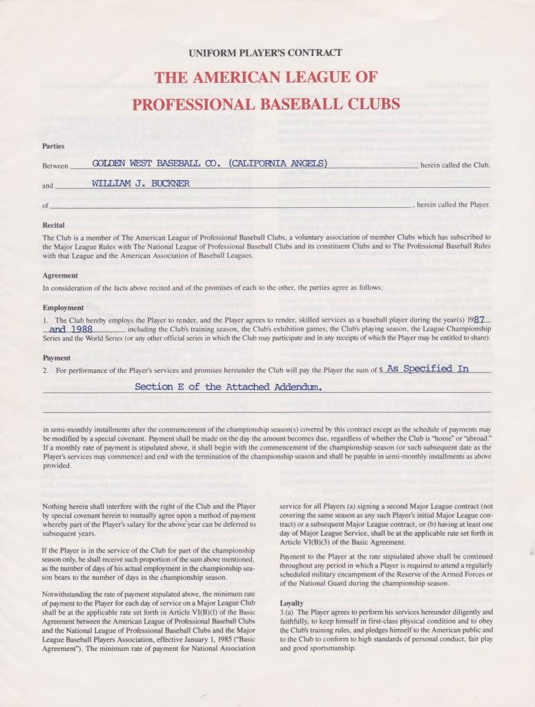 1987 Player's contract with the Angels - Buckner was traded from Boston for his own safety