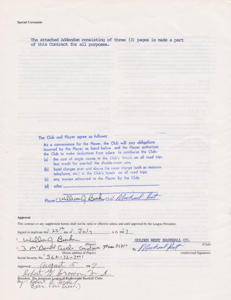 1987 Player's contract with the Angels - signature page