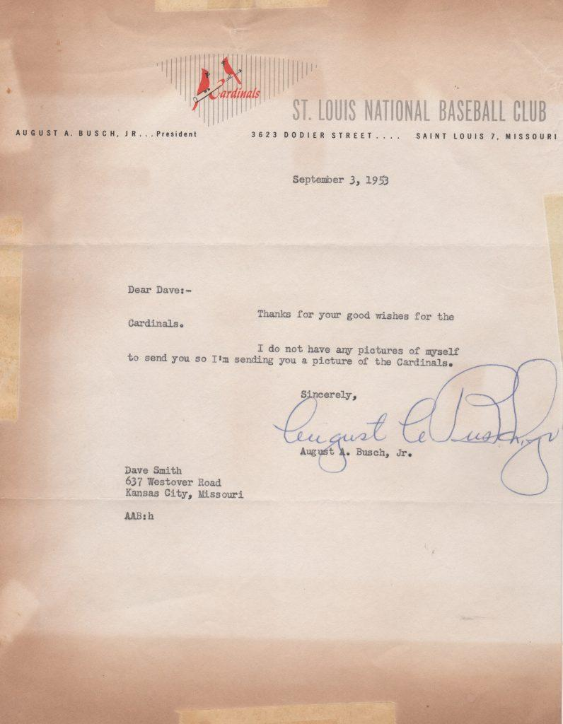 Letter signed by Gussie Busch in his first year as Cardinals owner