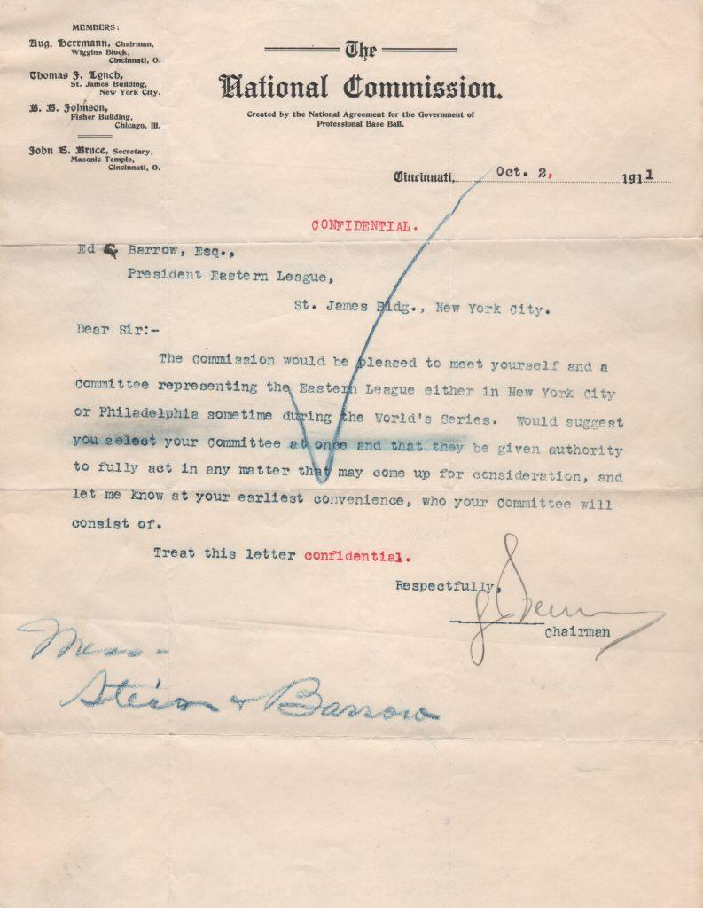 August Herrmann letter as president of the National Commission