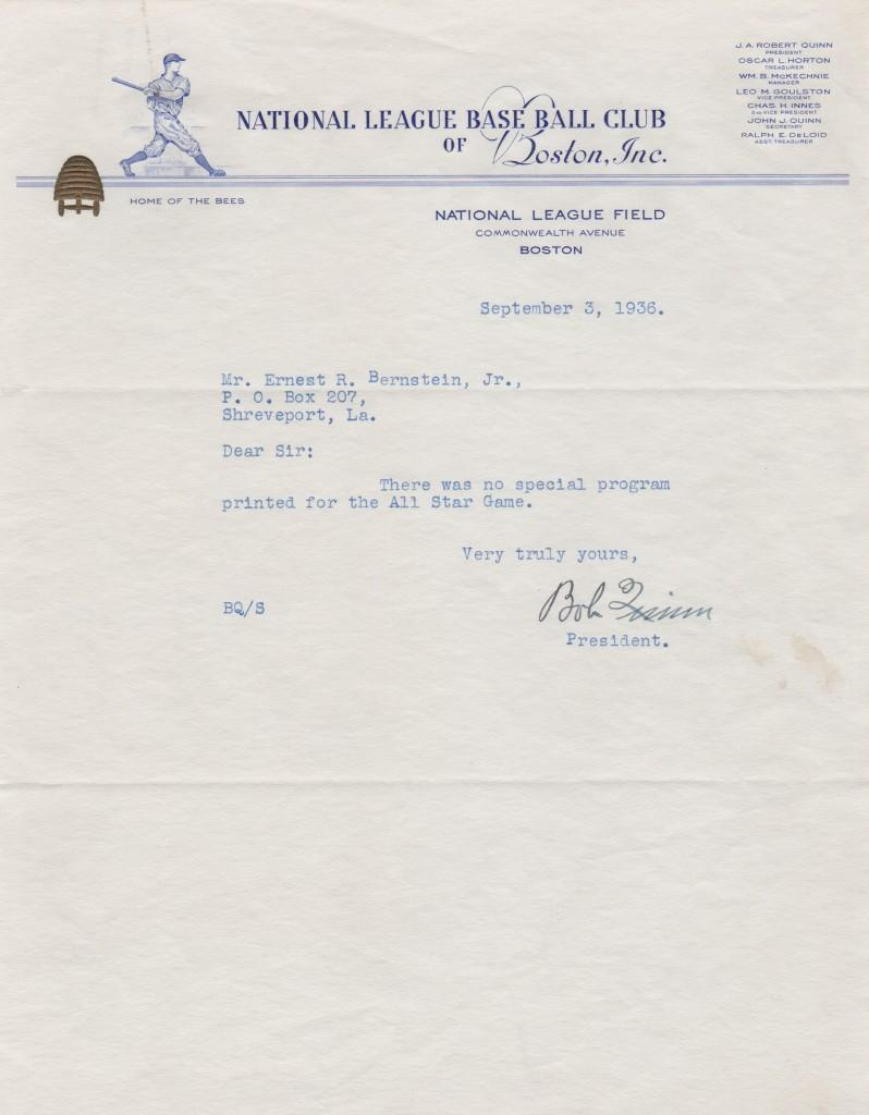 Typed written letter from 1936 on Boston Bees letterhead