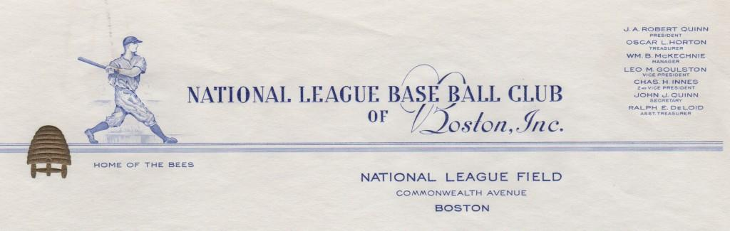 Top of the letterhead showing Quinn as team president