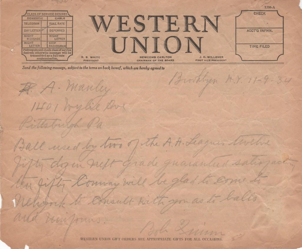 1934 telegram handwritten by Bob Quinn
