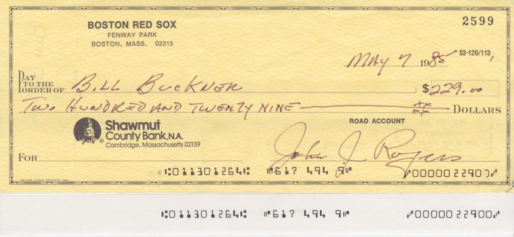 1985 Boston Red Sox payroll check for Bill Buckner