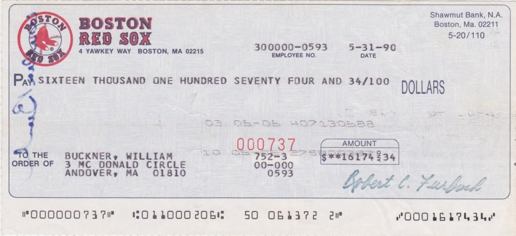 1990 Boston Red Sox payroll check - -Buckner's last as a player