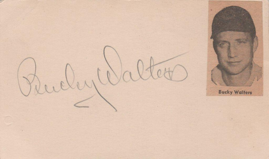 Bucky Walters autographed 3x5 card
