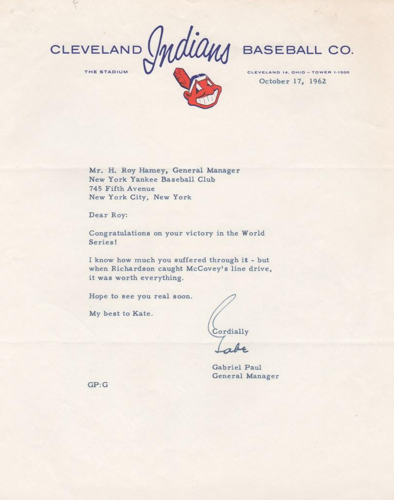 Gabe Paul letter to Yankees GM Roy Hamey after 1962 World Series