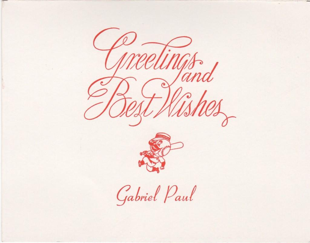 Inside of 1950s Gabe Paul's Christmas card