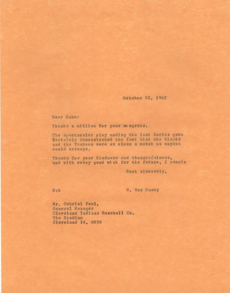 File copy of Yanks GM response to Gabe Paul after 1962 World Series