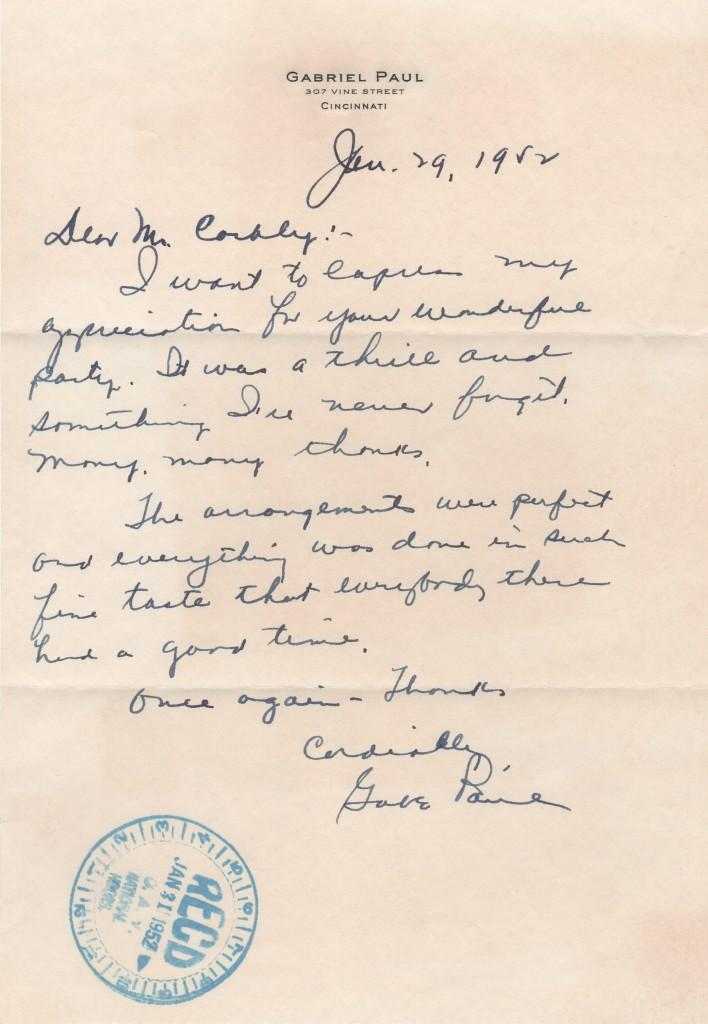 Handwritten letter from Gabe Paul in 1952