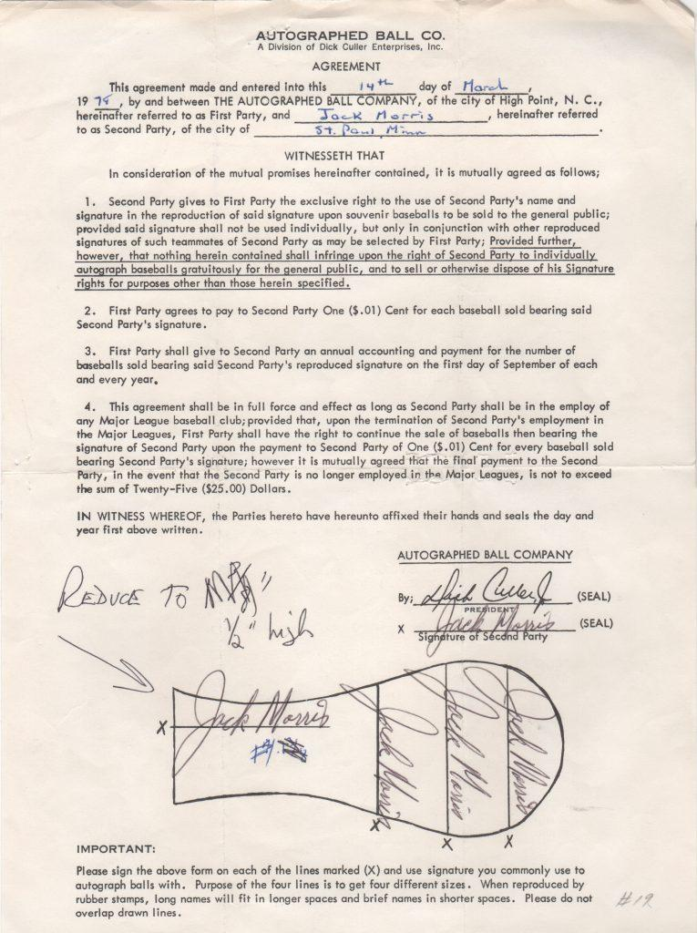 Jack Morris Autoball contract signed 7 games into his caeer