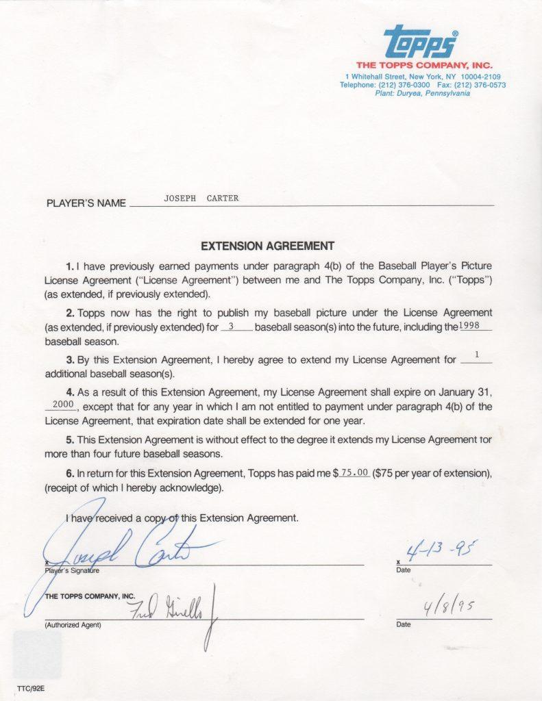 Joe Carter 1995 Topps baseball card contract extension