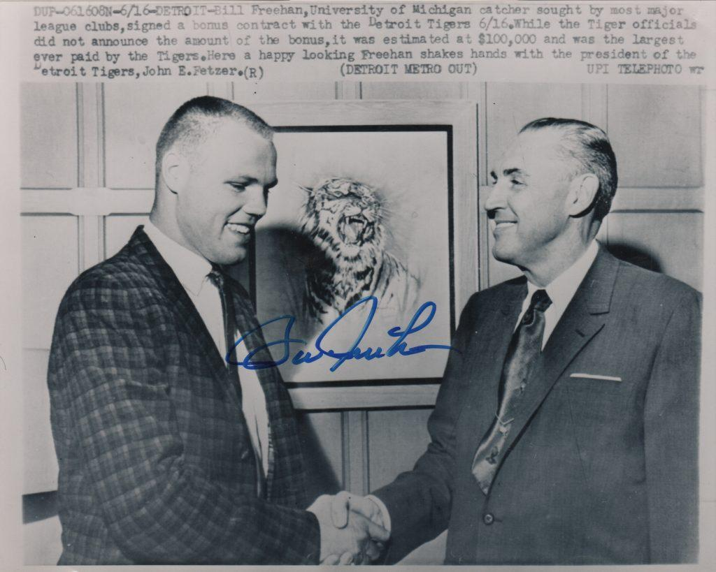 Bill Freehan shakes hands with Tigers owner John Fetzer in 1961