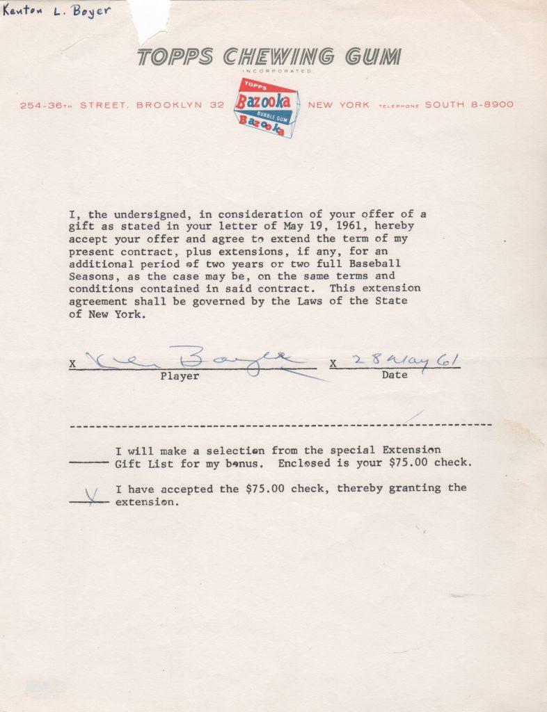 Ken Boyer 1961 Topps Chewing Gum gift receipt