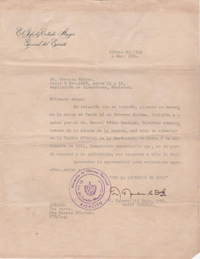 Letter from Cuban mayor to Minnie Minoso