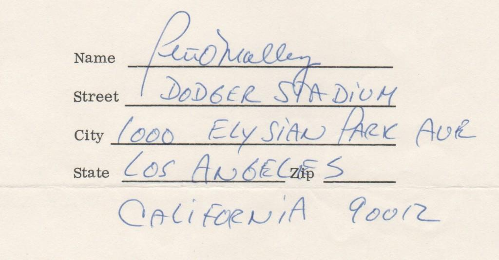 Closeup of Peter O'Malley's Dodger Stadium return address for Babe Ruth Foundation