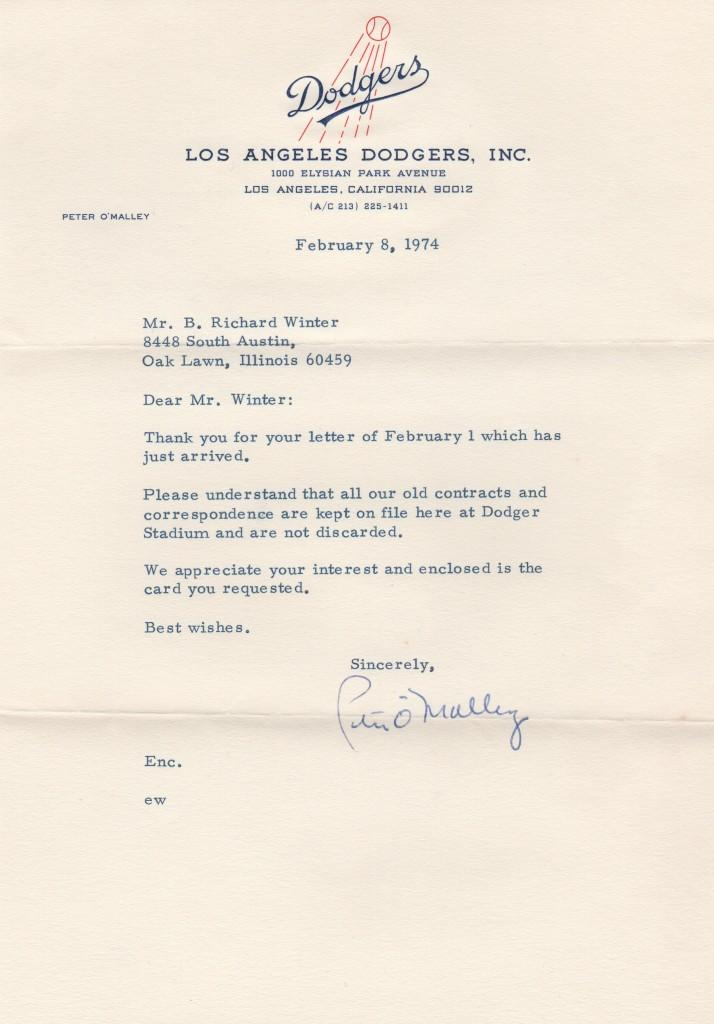 Peter O'Malley writes to a collector about old contracts and correspondence