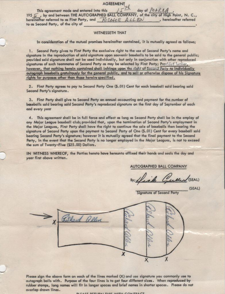 Dick Allen's signature appeared on stamped autographed baseballs in souvenir stands; this contract paid him one cent per ball sold