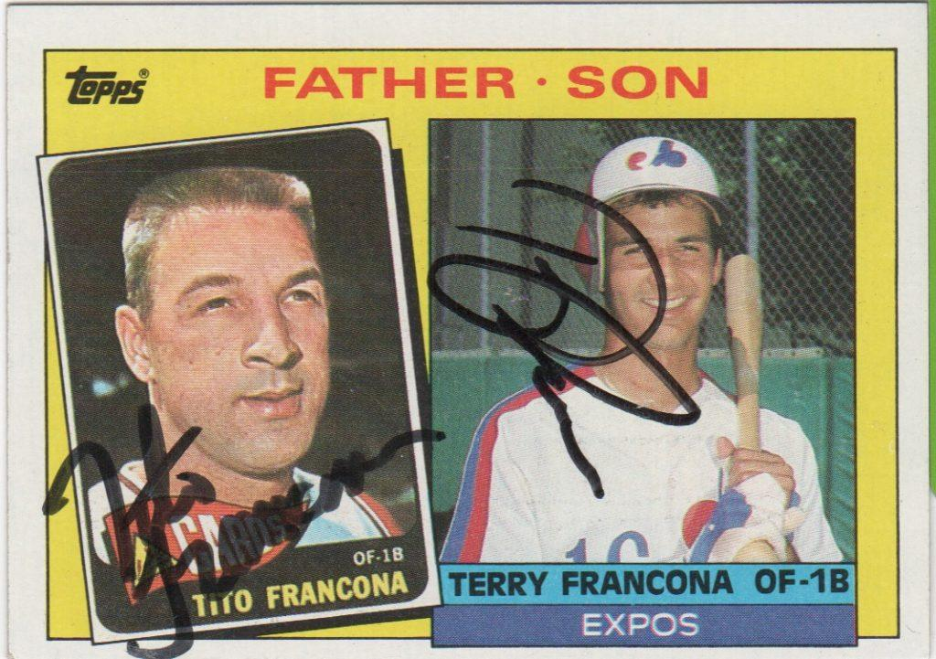 1985 Father/Son card autographed by both Franconas