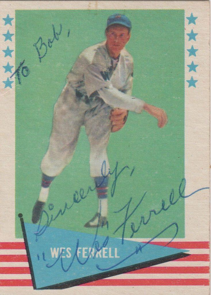 Wes Ferrell autographed 1962 Fleer card