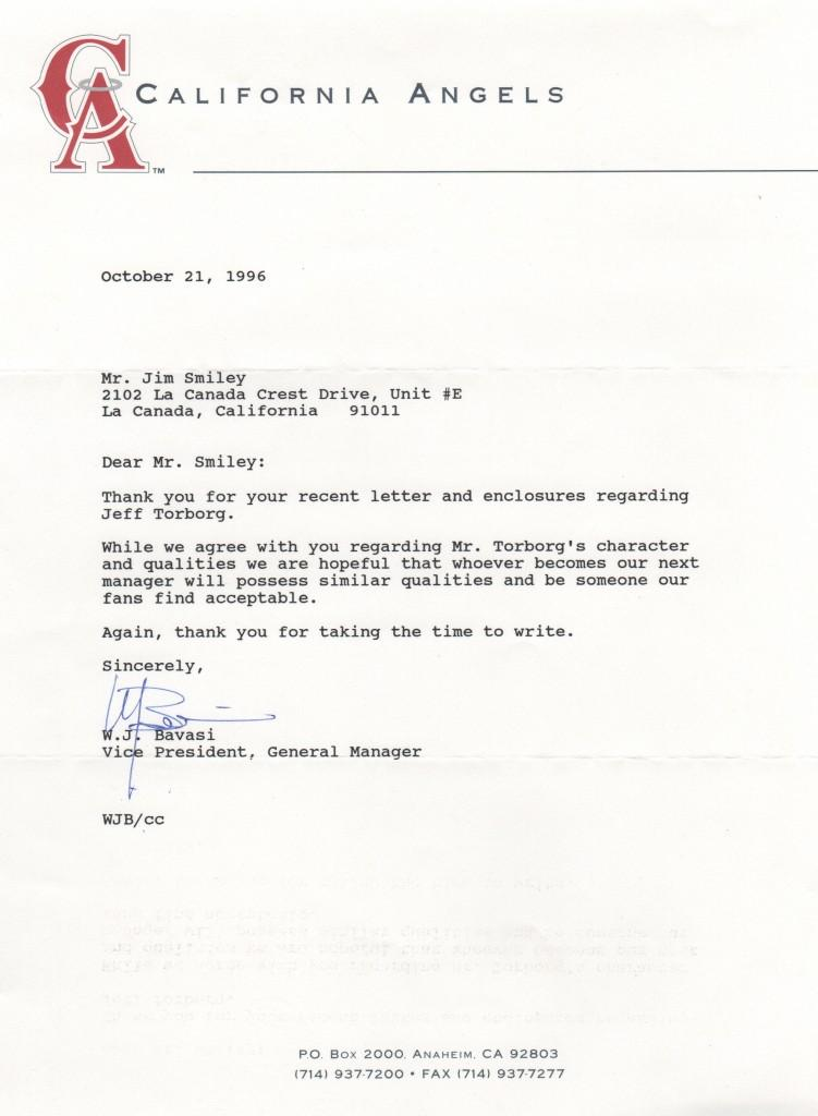 Son Bill Bavasi served as Angels GM - here's a letter from him
