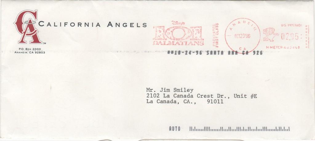 Envelope for the Bill Bavasi letter about Torborg