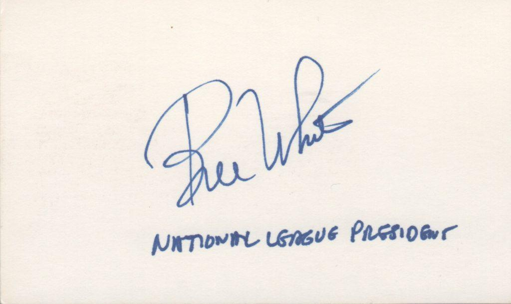 Bill White signed 3x5 card with notation