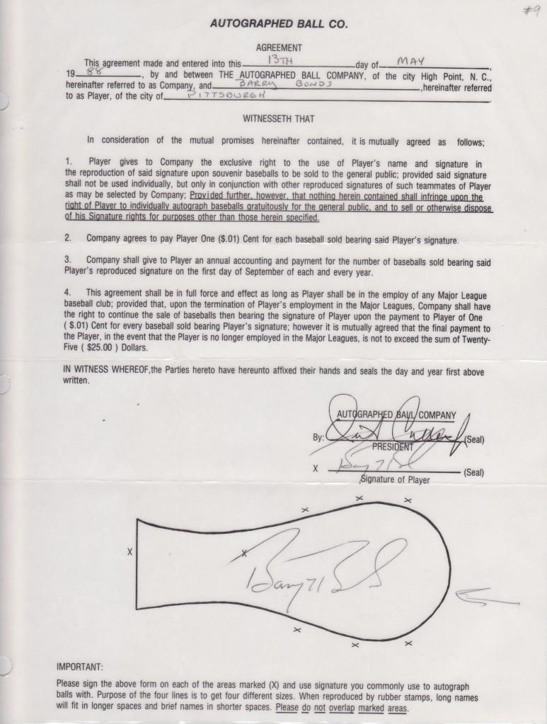 Signed contract to appear on souvenir baseballs