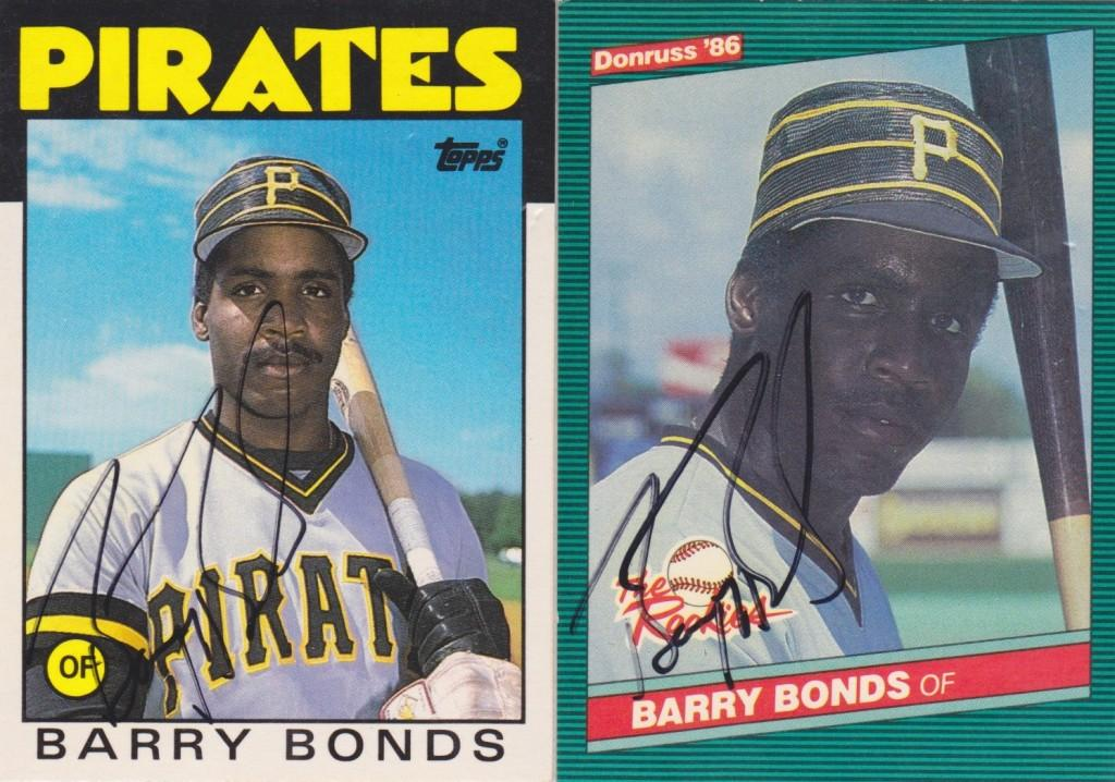 Two autographed baseball cards from early in Bonds' career