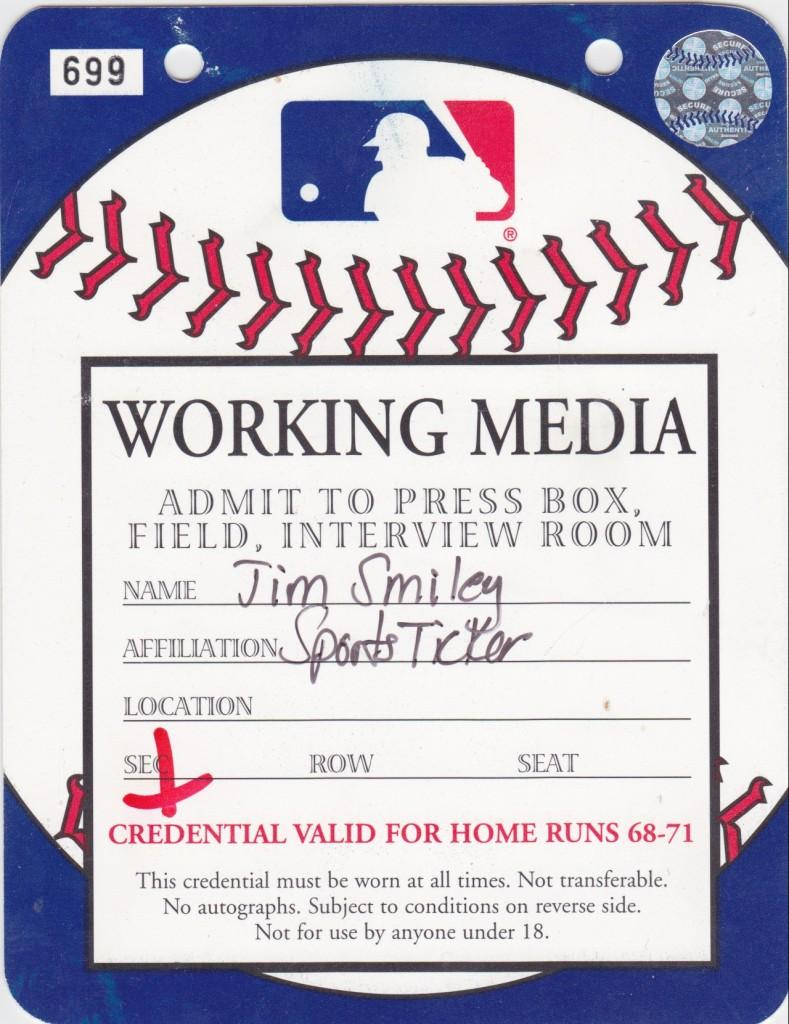 Special media credential for Barry Bonds' pursuit of the single-season homer record