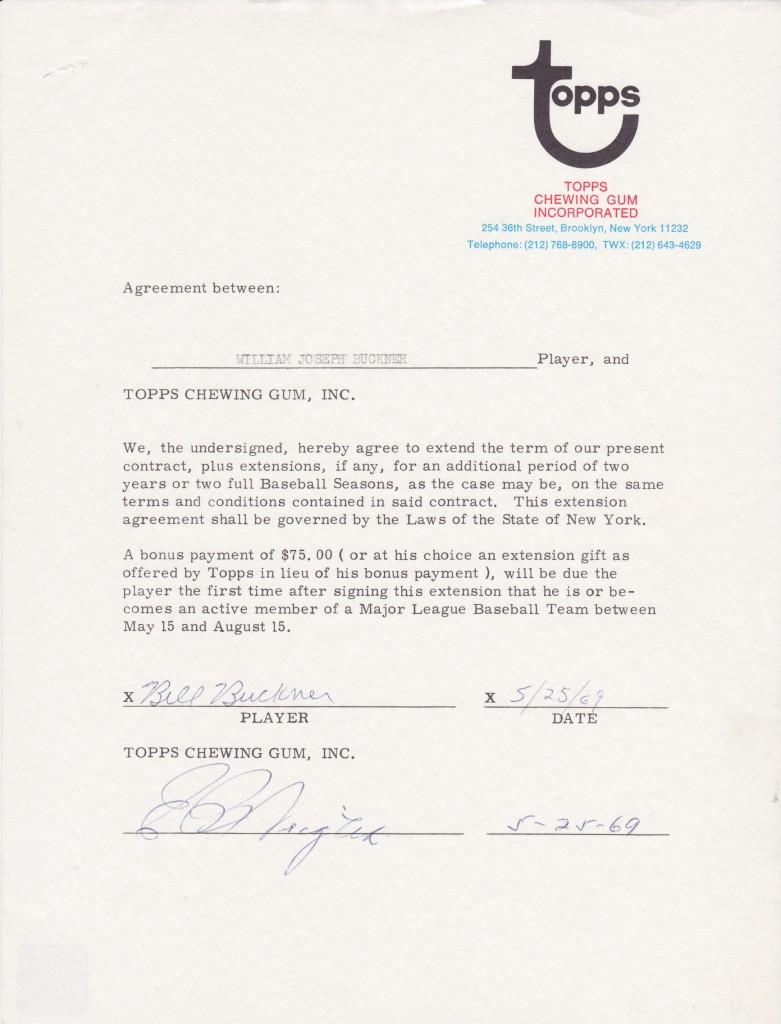 Bill Buckner first Topps baseball card contract extension, 1969