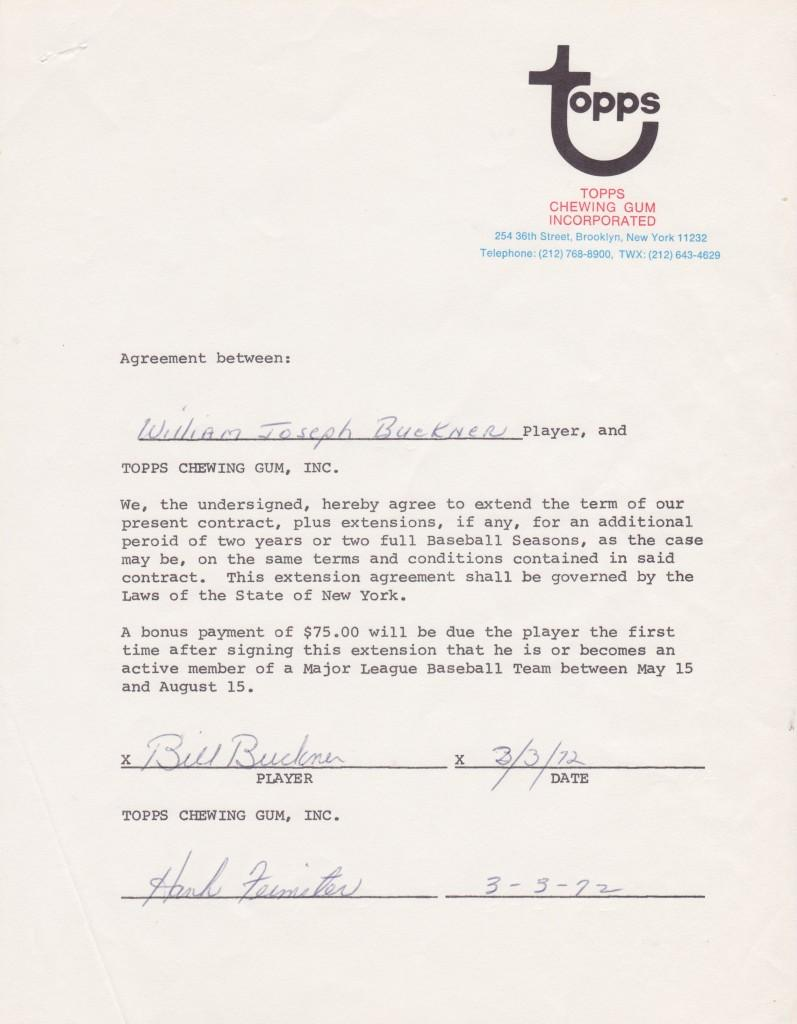1972 Topps contract for Bill Buckner to appear on baseball cards