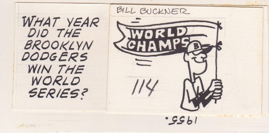 1975 Topps baseball card original artwork for the back of Buckner's card