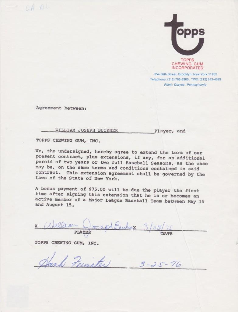 1976 Topps contract for Bill Buckner to appear on baseball cards