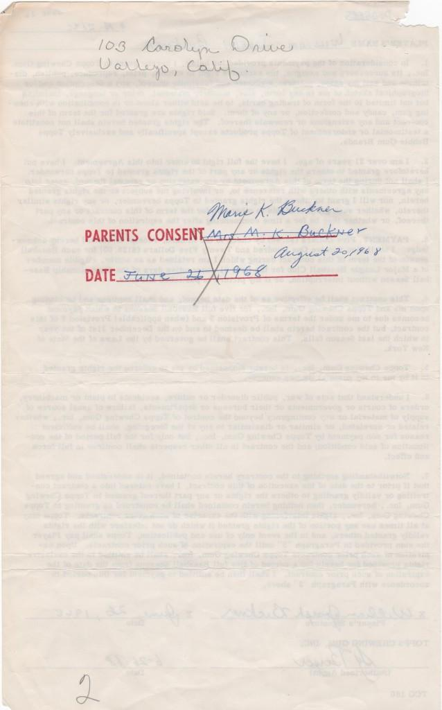 Backside of first Topps contract; Buckner tried to forge his mom's signature for consent