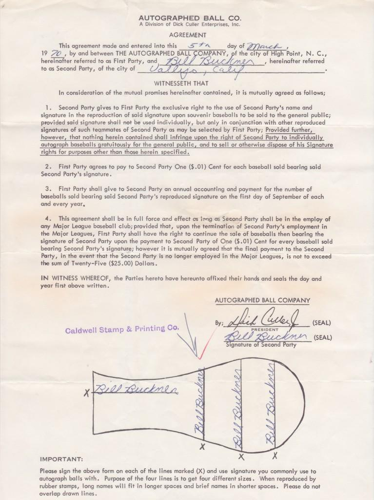Bill Buckner's 1970 contract to appear on stamped autographed baseballs