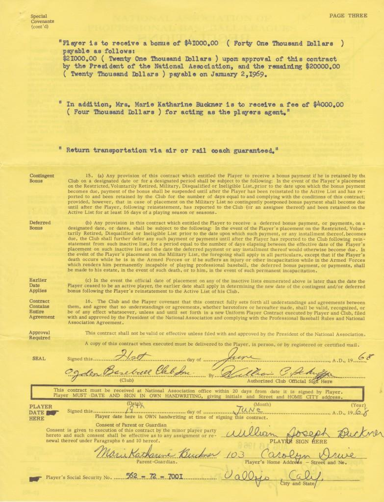 1968 professional player's contract - signature page