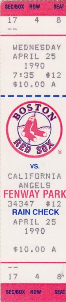 1990 ticket stub for Buckner's last homer - inside the park!