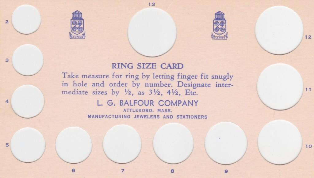 A ring size card for 1959 World Series rings