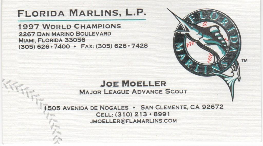 Business card for Florida Marlins advance scout Joe Moeller