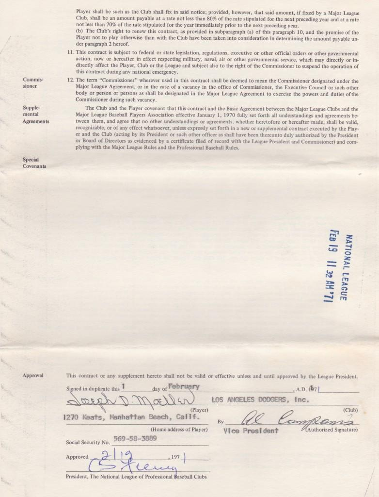 Signature page of Joe Moeller's final MLB contract