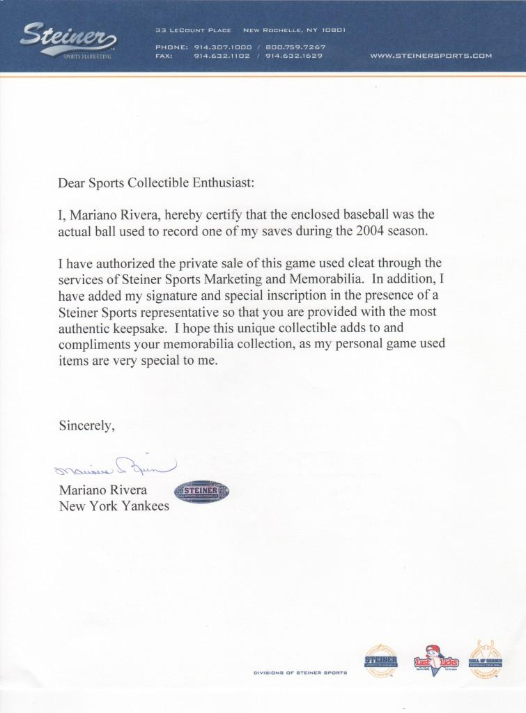 Rivera signs a letter of authenticity