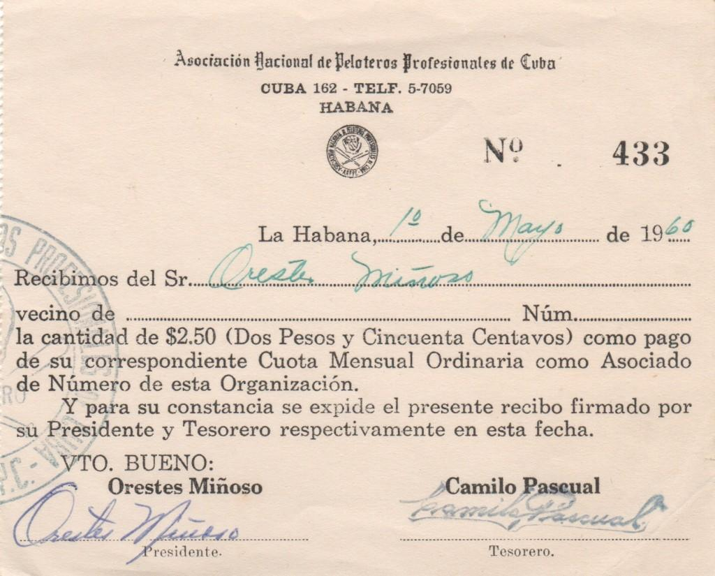 National Association of Professional Ball Players of Cuba ID card issued to and signed twice by Minoso