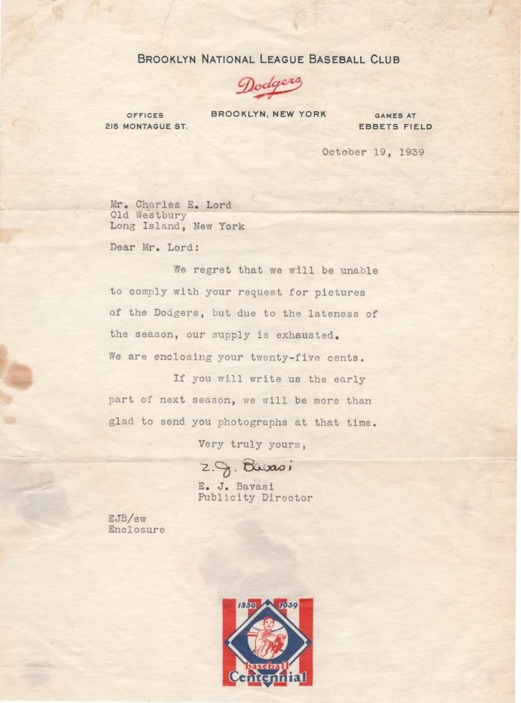 Oldest known signed Buzzie Bavasi letter -- 1939 as PR man for Brooklyn