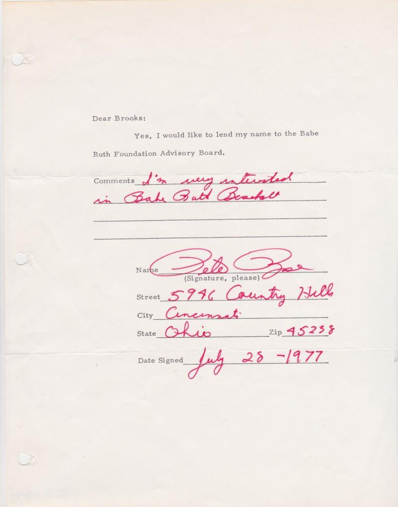 Rose agrees to lend his name to the Babe Ruth Foundation Advisory Board in 1977