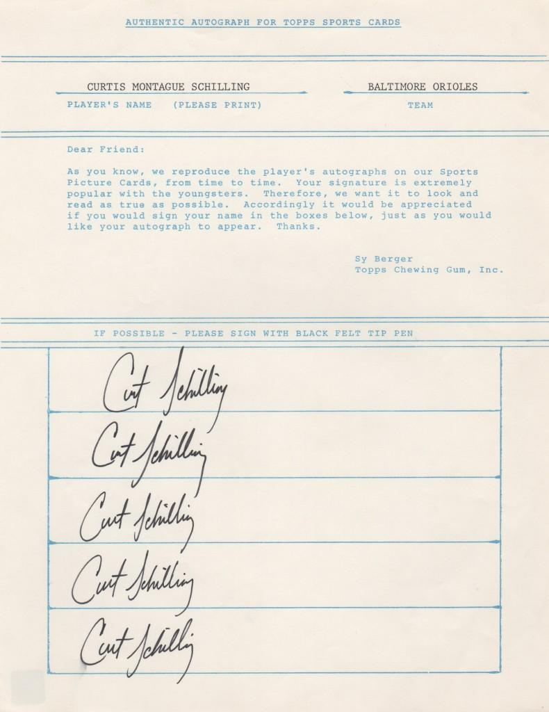 Early Topps contract -- Curt Schilling provides his autograph for baseball cards