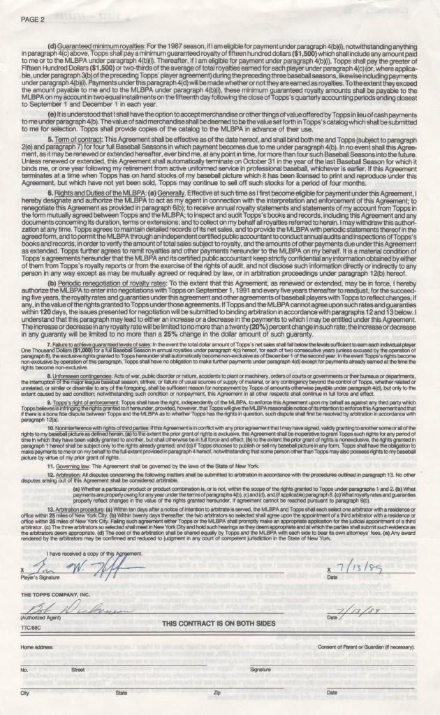 Reverse of Trevor Hoffman's first Topps contract